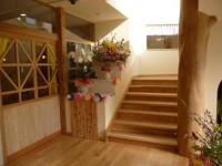 自然木階段